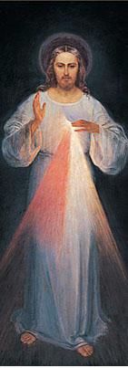 JESUS MISERICORDIOSO Cópia a partir da pintura (revelada a Santa Faustina Kowalska (1931), restaurada em 2005. Imagem para impressão poligráfica.